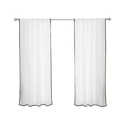 Oxford Outdoor 52 in. W x 84 in. L Small Black Border Curtains in White (2-Pack)