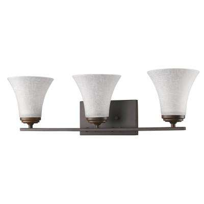 Union 3-Light Oil-Rubbed Bronze Vanity Light with Frosted Glass Shades