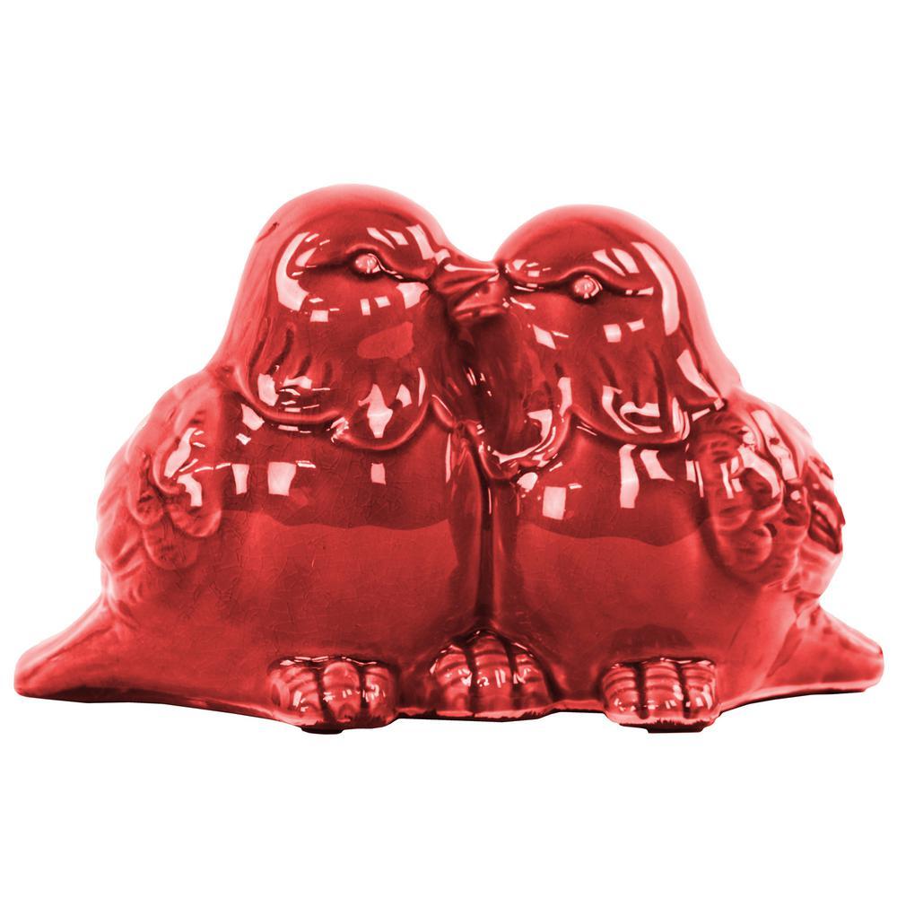 6 in. H Bird Decorative Figurine in Red Gloss Finish