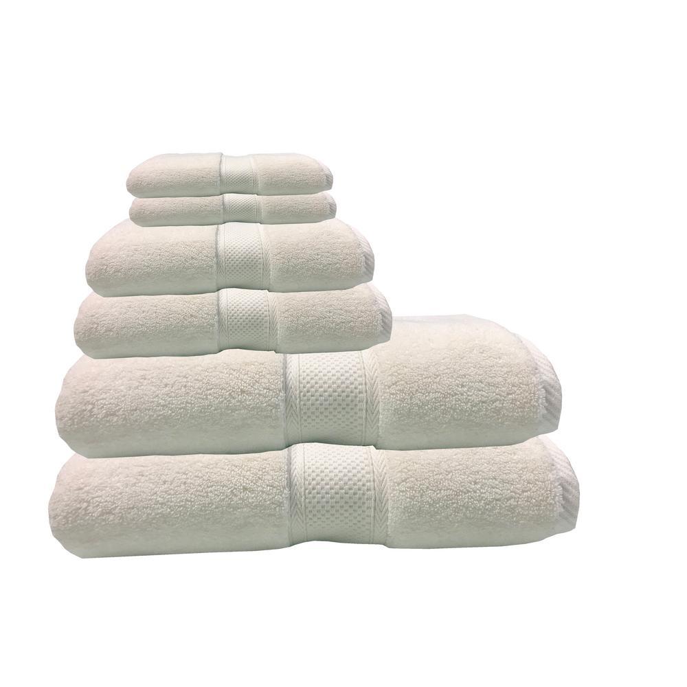 Hotel Zero Twist 6-Piece 100% Cotton Bath Towel Set in White