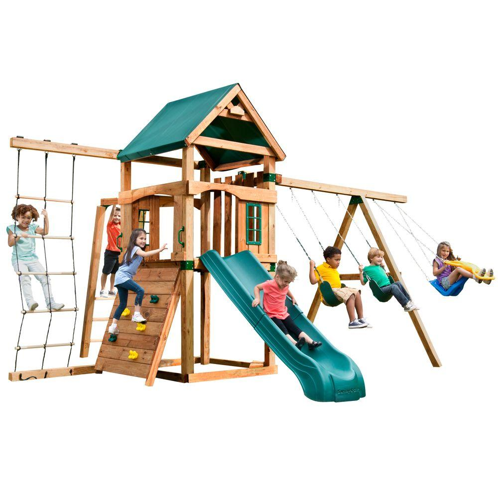 Swing-N-Slide Playsets Bighorn Play Set with Summit Slide, Add 4x4's