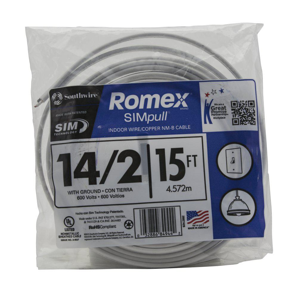 14//2 W//GR 25/' FT ROMEX INDOOR ELECTRICAL WIRE ALL LENGTHS AVAILABLE