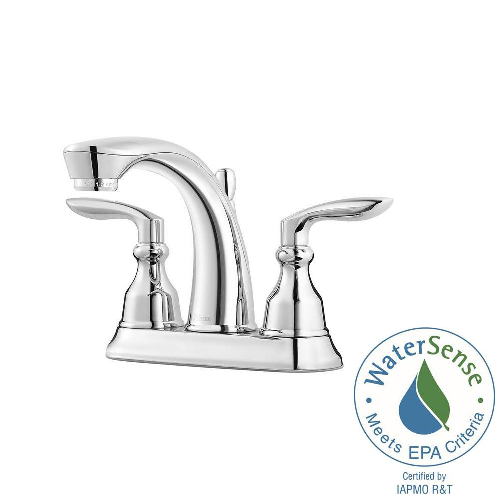 Pfister Avalon 4 in. Centerset 2-Handle Bathroom Faucet in Polished ...