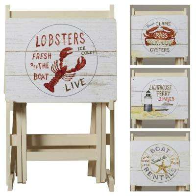 Multi Color Nautical TV Tray with Stand (Set of 4)