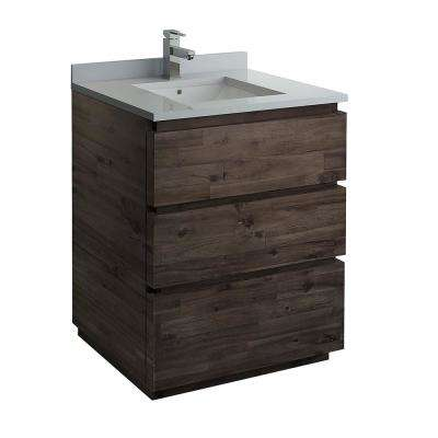 Formosa 30 in. Modern Vanity in Warm Gray with Quartz Stone Vanity Top in White with White Basin
