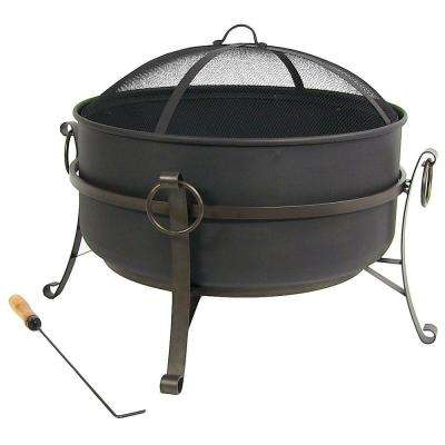 Cauldron 24 in. x 23 in. Round Steel Wood Fire Pit with Spark Screen in Black