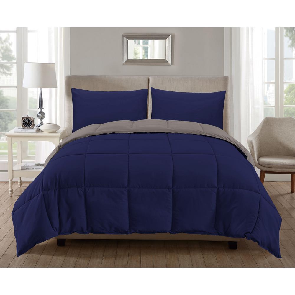 Jackson Down Alternative King Comforter Set In Navy Silver