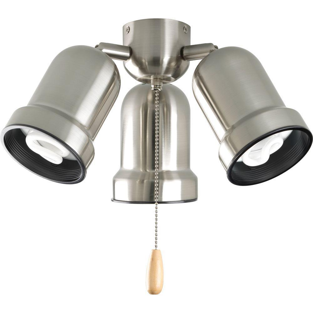 Progress Lighting AirPro 3-Light Brushed Nickel Ceiling Fan Light