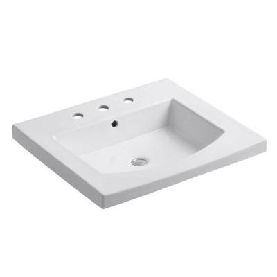 Persuade 25.25 in. Vitreous China Vanity Top in White with Basin