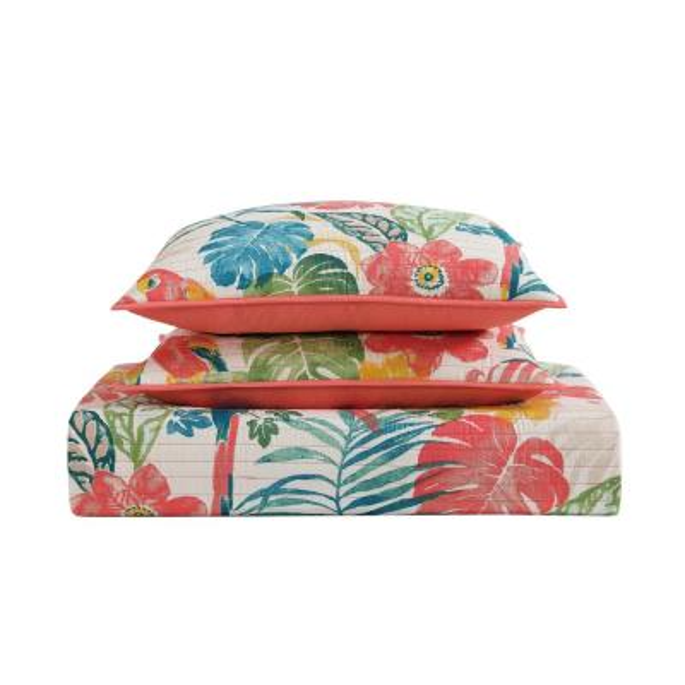 Coco Paradise 3-Piece Multicolored Floral Queen Comforter Set