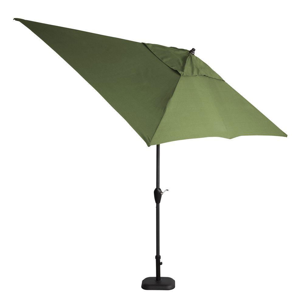 Hampton Bay 10 ft. x 6 ft. Aluminum Patio Umbrella in Moss