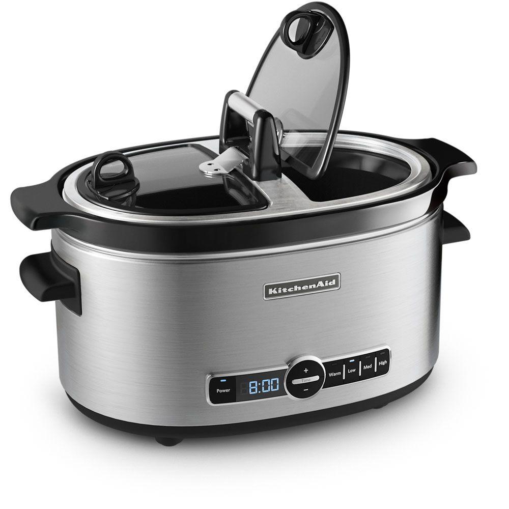KitchenAid 6 qt. Slow Cooker with Hinged Lid in Stainless Steel
