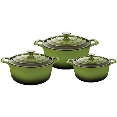 PRO Cast Iron Round Casserole Set with Enamel Finish in Green (6-Piece)