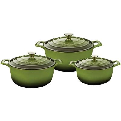 PRO Range 6-Piece Cast Iron Casserole Dishes Set in Olive Green
