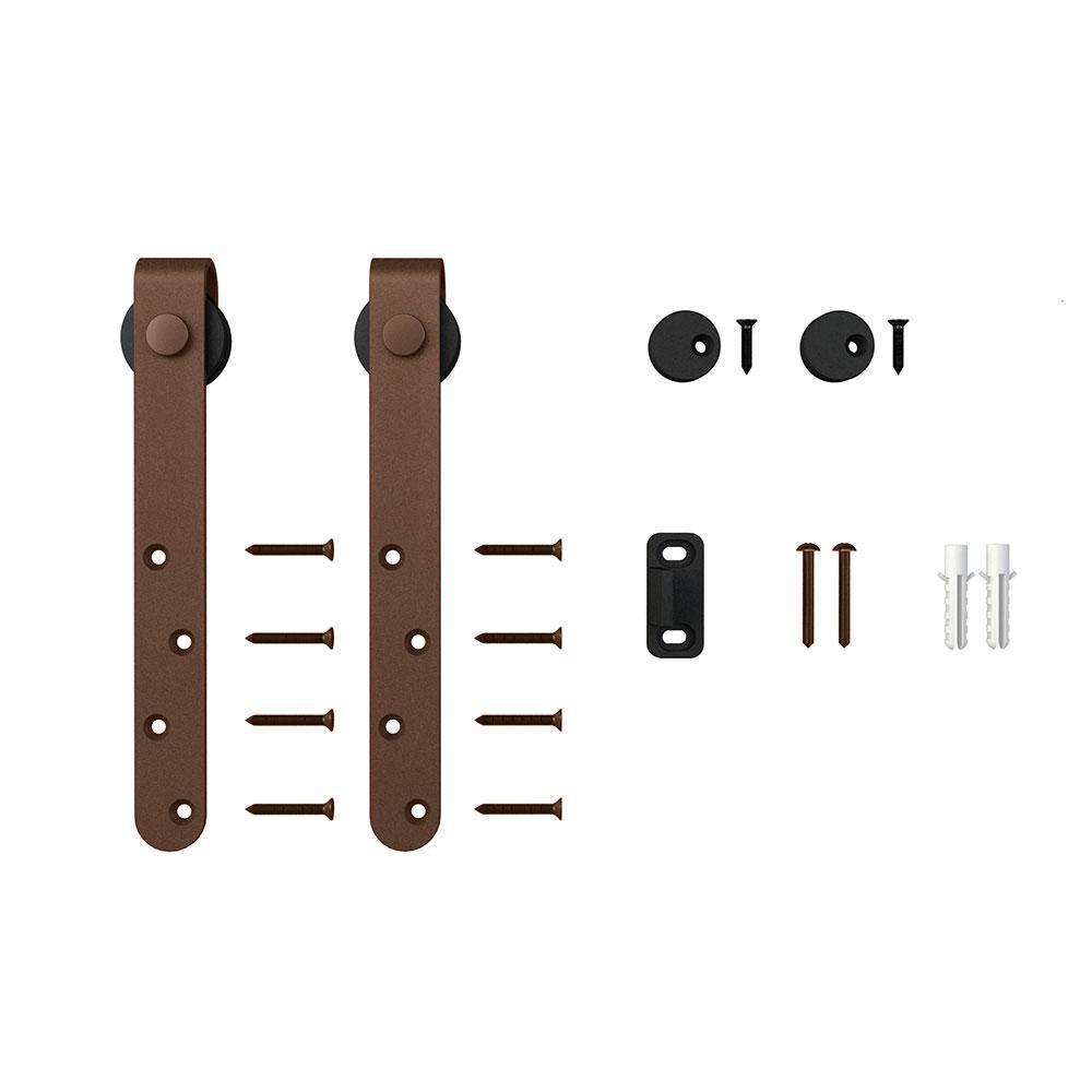 Oil Rubbed Bronze Classic Strap Roller Kit for Mini Sliding Furniture Barn Doors