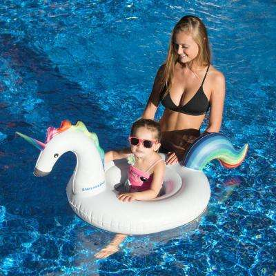 White Vinyl Oval Inflatable Unicorn Baby Floating Lounger Raft Float for Swimming Pool