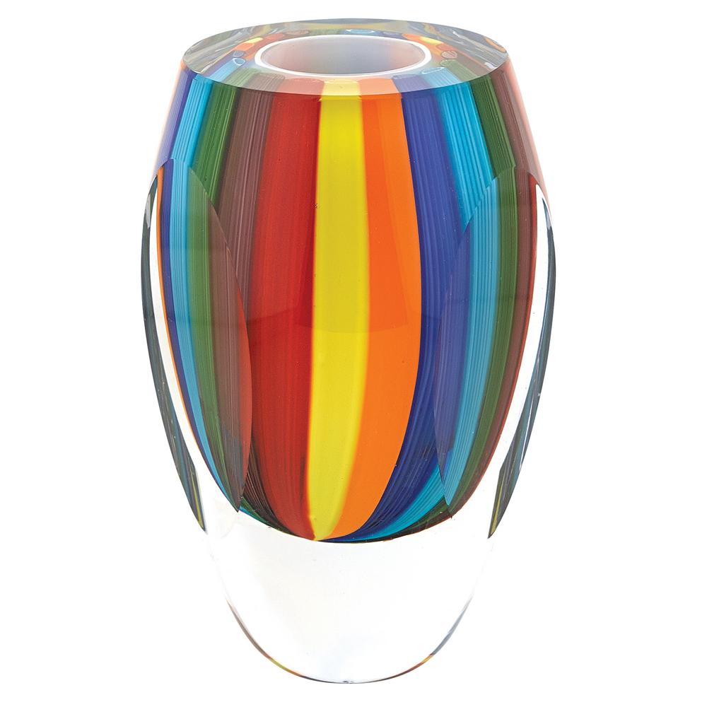 Badash Crystal 6 In Rainbow Murano Style Art Glass Vase J518 The Home Depot