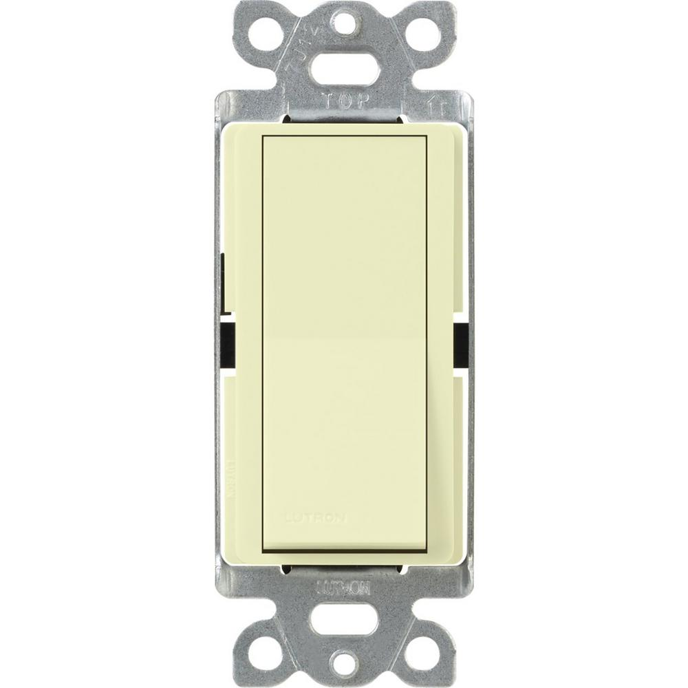 Lutron Claro 15 Amp 3 Way Rocker Switch With Locator Light Almond Cooper Wiring Quiet Toggle Single Pole Lighted A 120 V Ivory