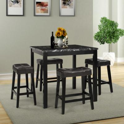 36 in. Black Marble Dining table set( set of 1 table $ 4 stools )