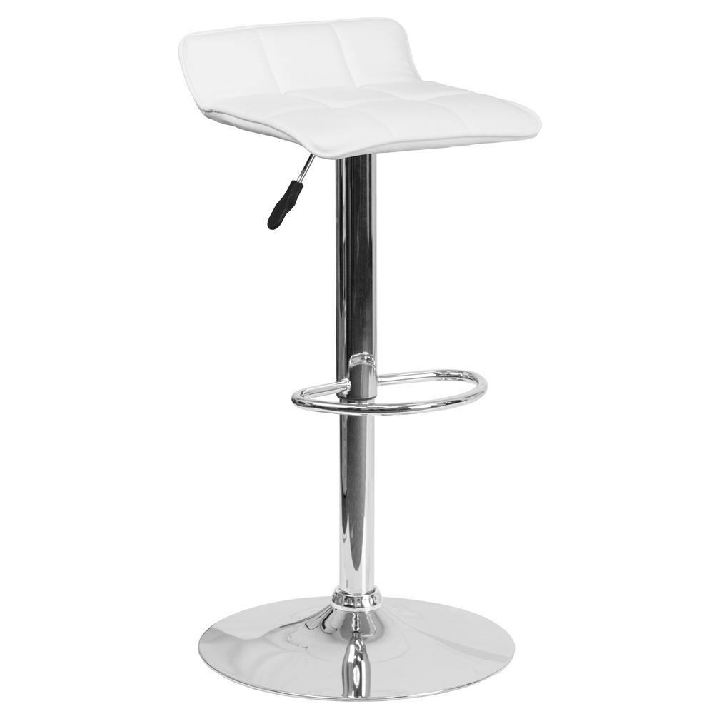 32 in. Adjustable Height White Cushioned Bar Stool