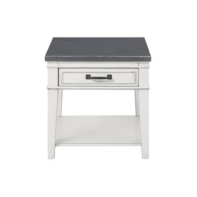 Del Mar Antique White and Grey End Table