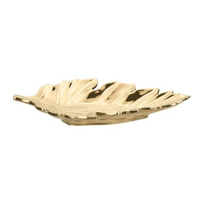 Gold Ceramic Decorative Leaf Tray