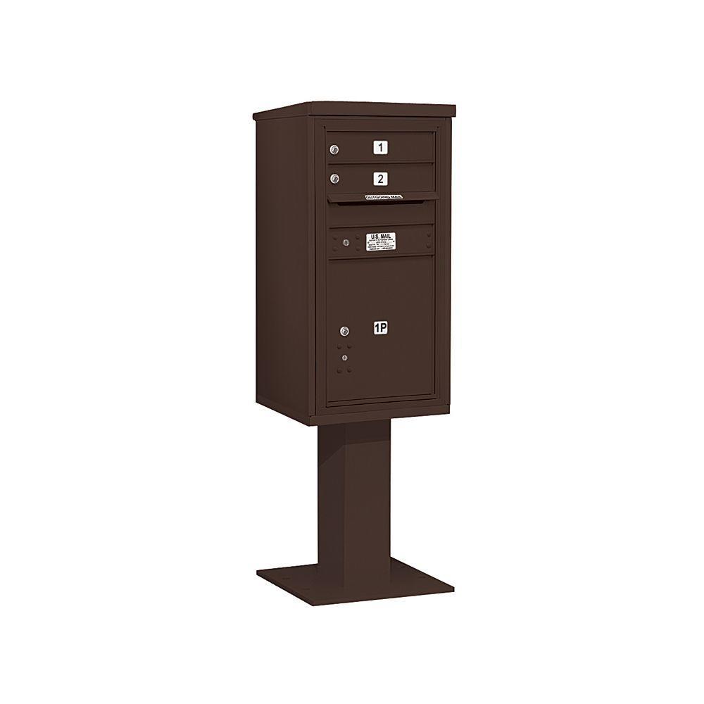 3400 Series 62-1/8 in. 9 Door High Unit Bronze 4C Pedestal