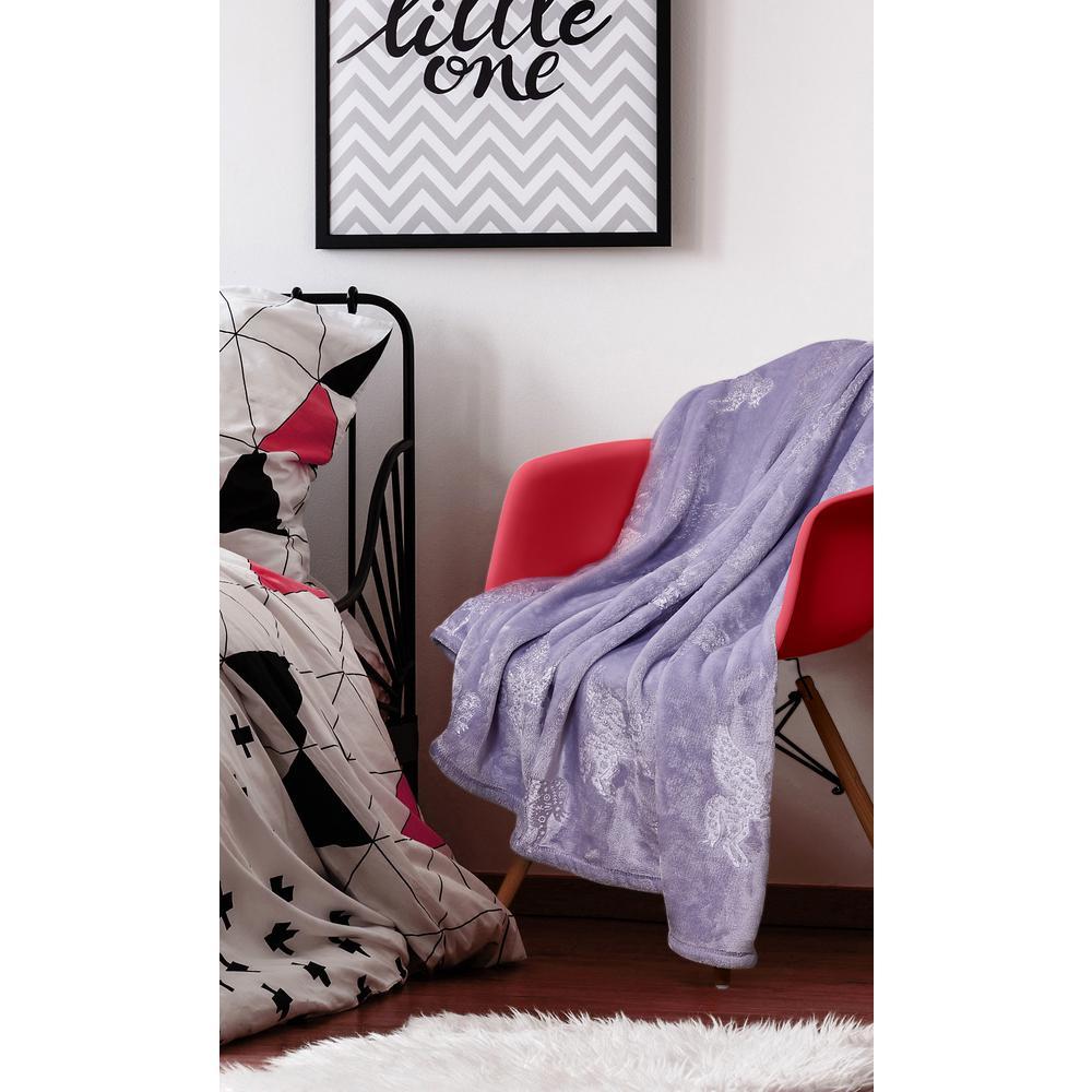 Kute Kids Unicorn Dreams Embossed Purple Velvet Plush Twin Blanket