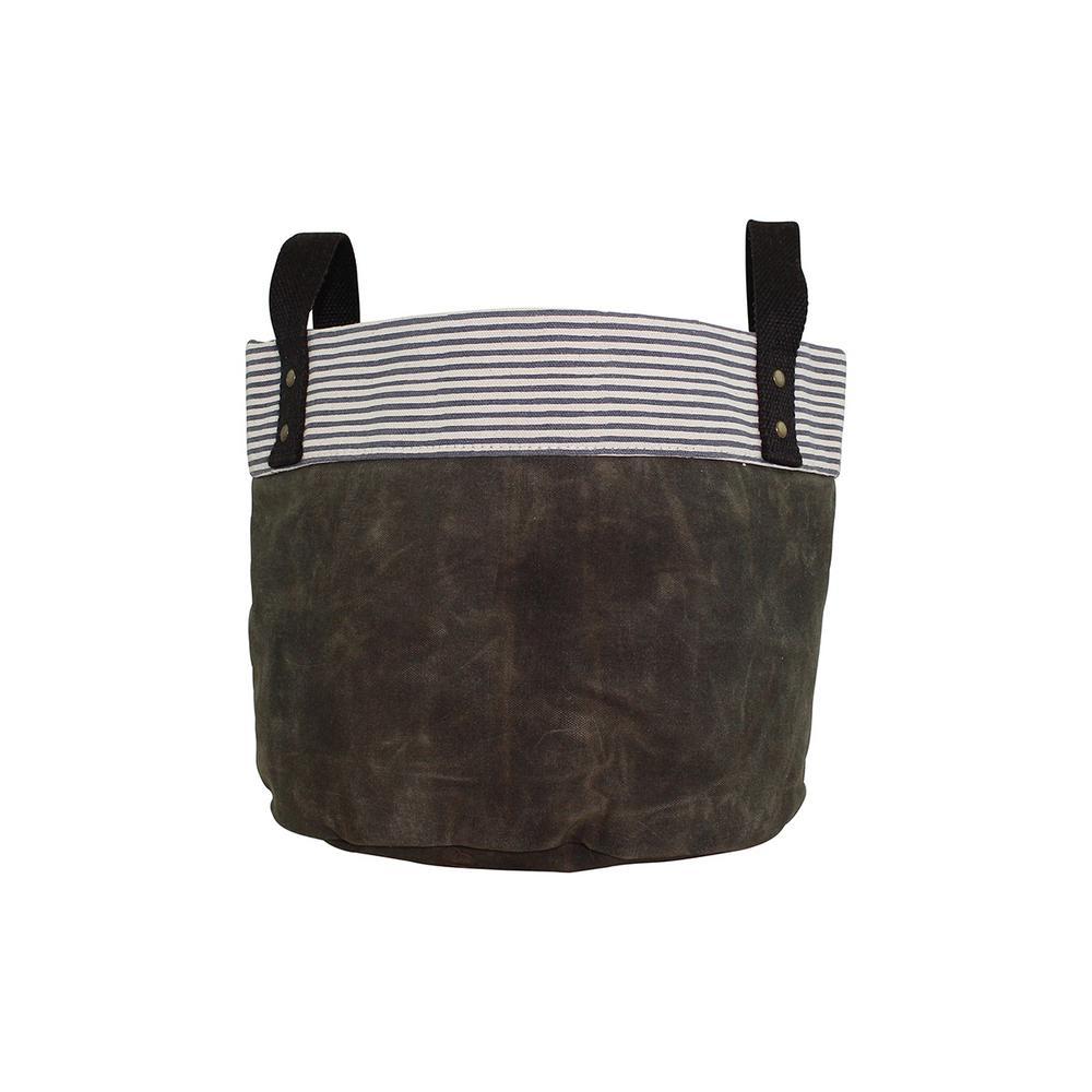Small Olive Waxed Canvas Round Bottom Fabric Storage Tub