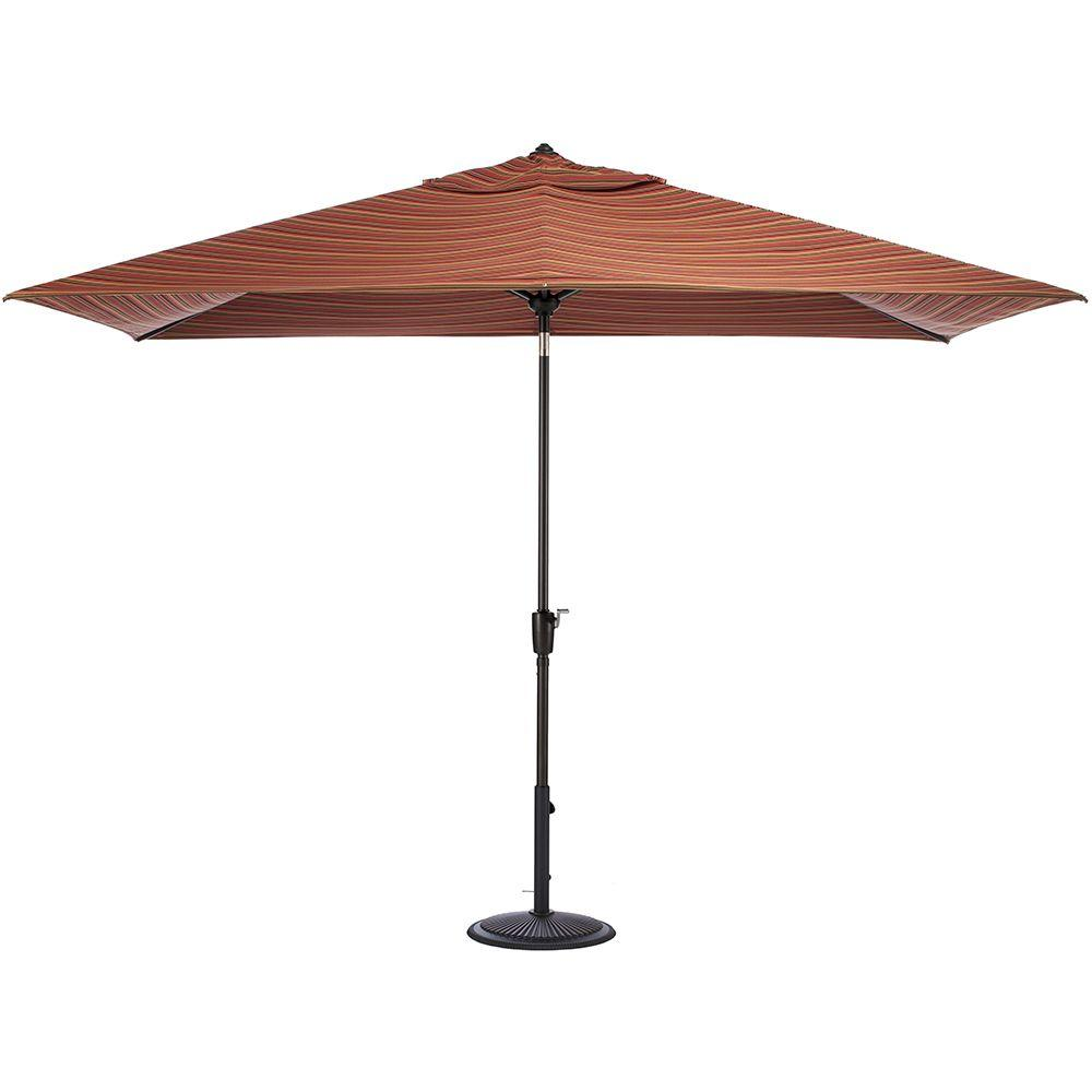 Home Decorators Collection 10 ft. Auto-Tilt Patio Umbrella in Dorsett Cherry Sunbrella with Black Frame