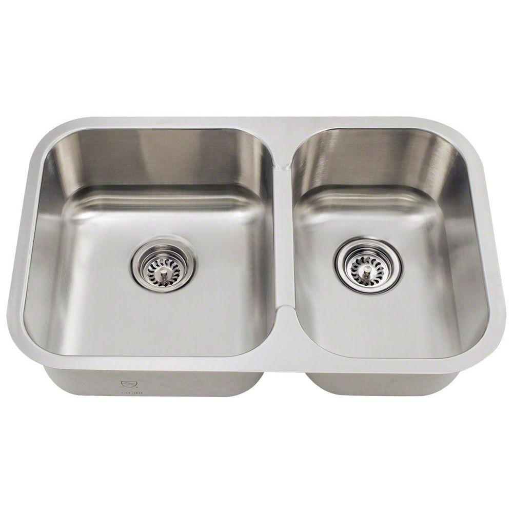 Double Bowl Stainless Steel Kitchen Sink.Polaris Sinks Undermount Stainless Steel 28 In Double Bowl Kitchen Sink