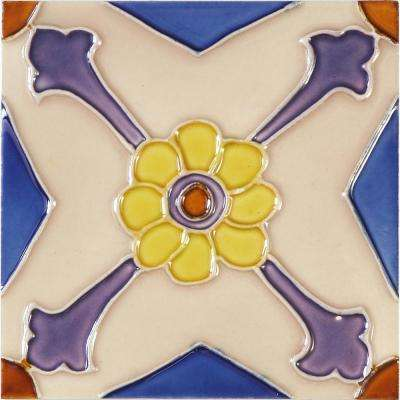 Hand-Painted Ceramic Florecilla 6 in. x 6 in. x 6.35 mm Glazed Ceramic Wall Tile (2.5 sq. ft. / case)