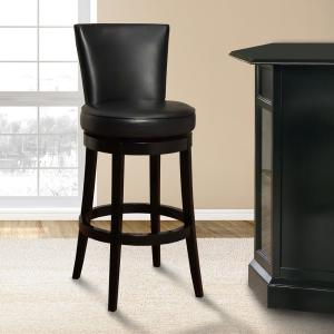 Boston 26 In. Black Bonded Leather And Black Wood Finish Swivel Barstool
