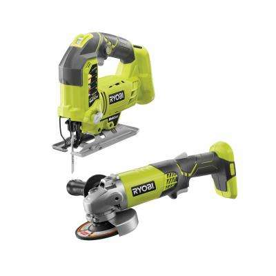18-Volt ONE+ Lithium-Ion Cordless Orbital Jig Saw and 4-1/2 in. Angle Grinder (Tools Only)