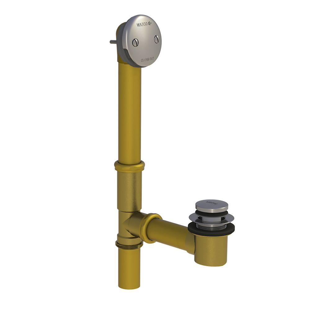 501 Series 16 in. Tubular Brass Bath Waste with Foot Actuated