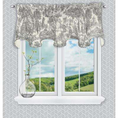 Victoria Park Toile 15 in. L Cotton Scallop Valance in Grey