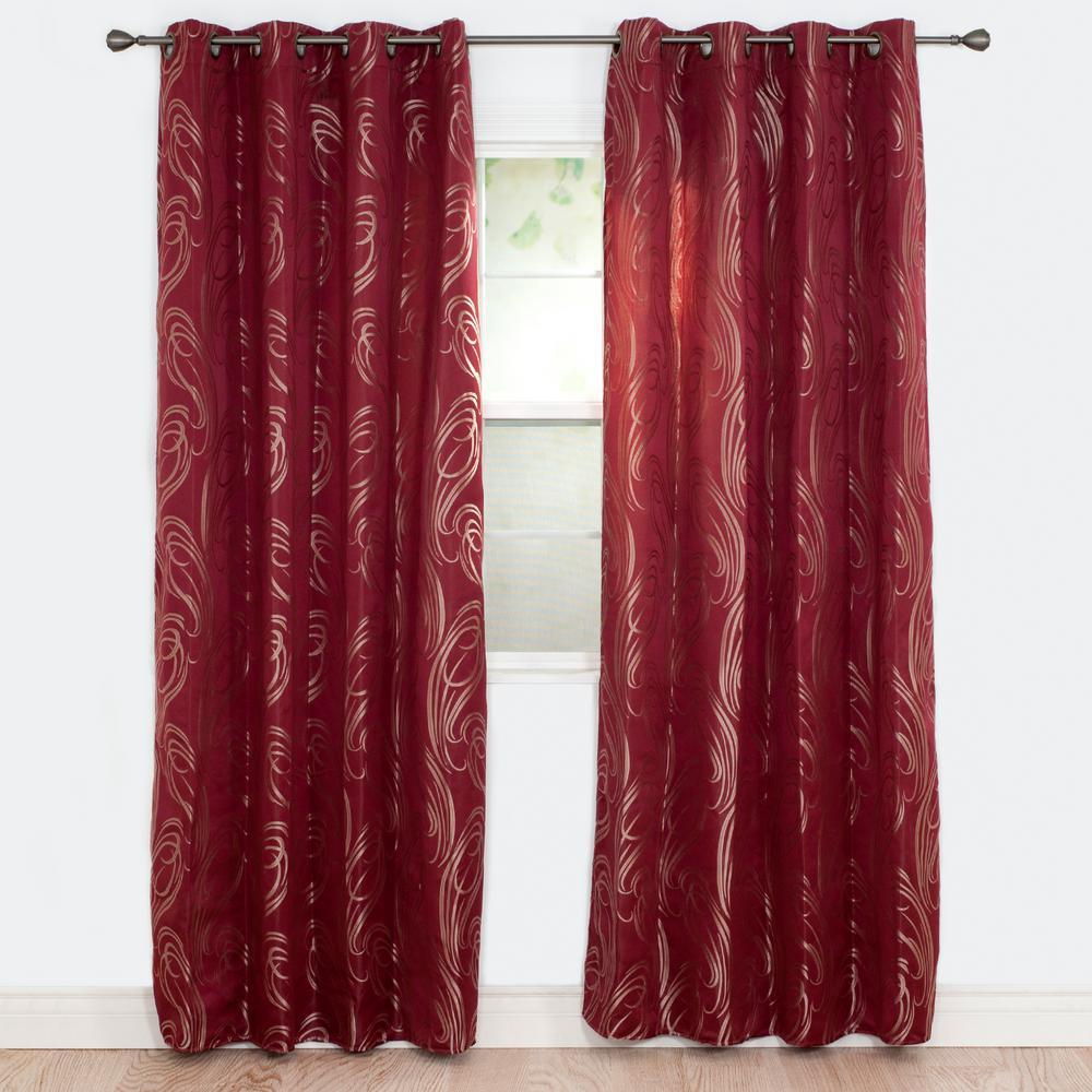 Semi-Opaque Dinah Burgundy Polyester Jacquard Curtain