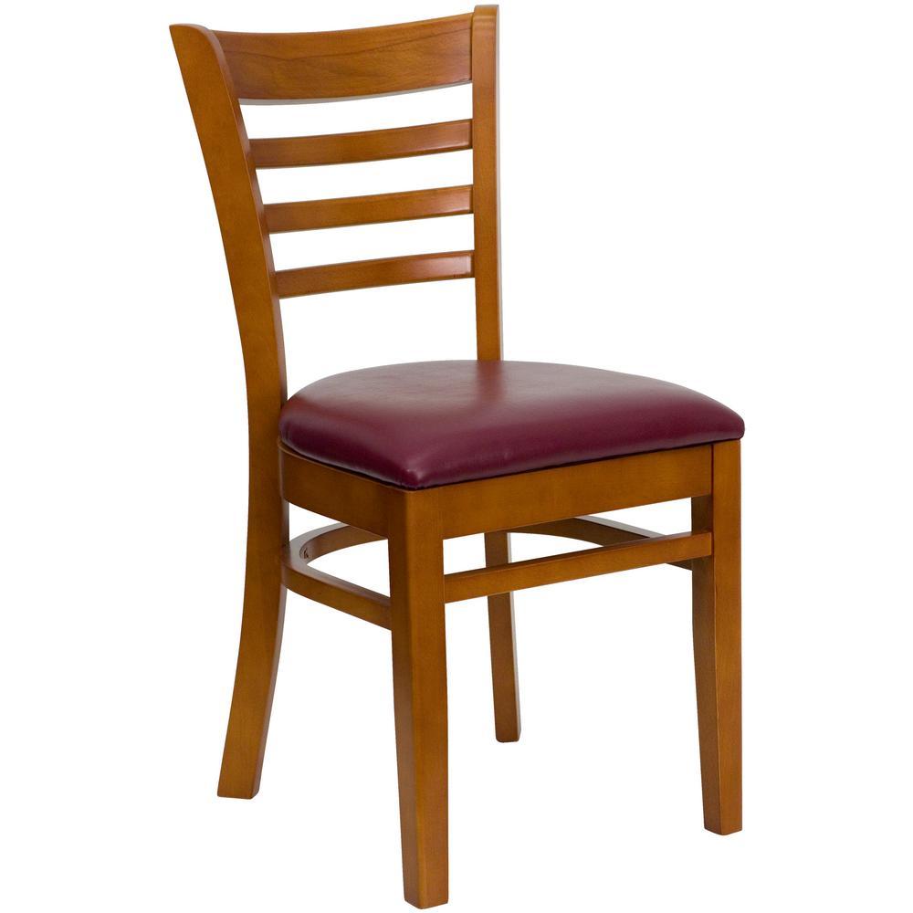 Hercules Series Cherry Ladder Back Wooden Restaurant Chair with Burgundy Vinyl Seat