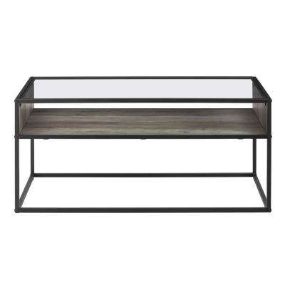 40 in. Grey Wash Metal and Glass Coffee Table with Open Shelf