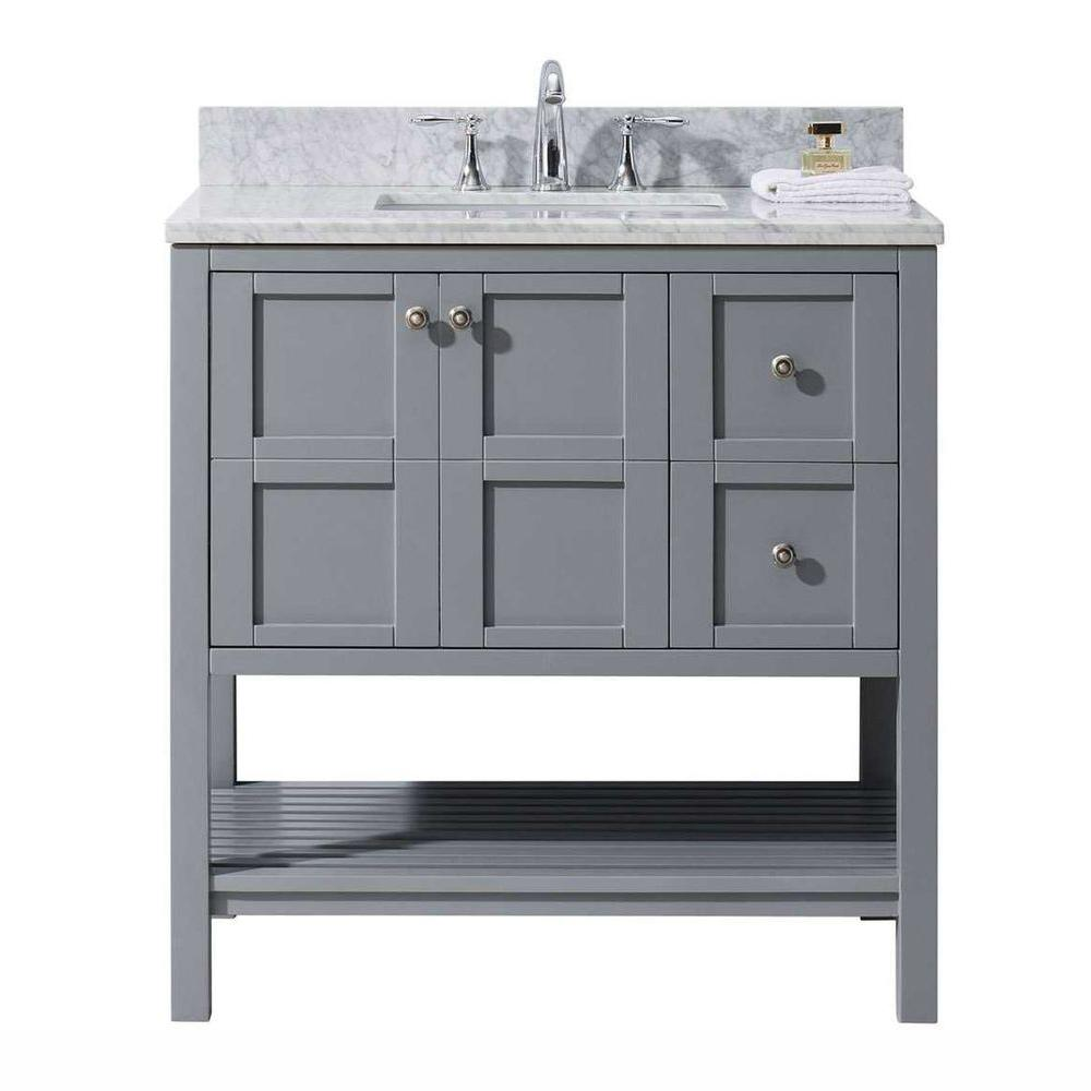 Virtu Usa Winterfell 36 In W X 22 In D Vanity In Grey
