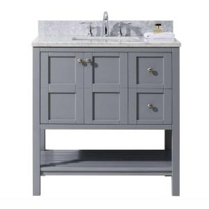 Virtu USA Winterfell 36 inch W x 22 inch D Vanity in Grey with Marble Vanity Top in White with White Basin by Virtu USA