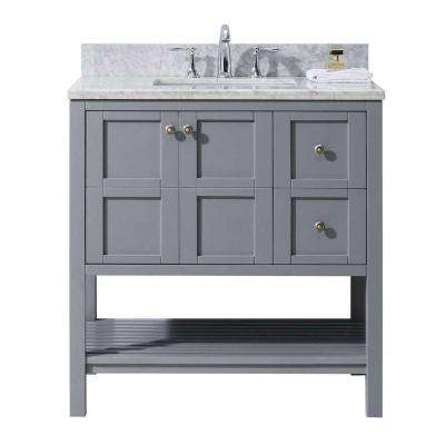 Winterfell 36 in. W Bath Vanity in Gray with Marble Vanity Top in White with Square Basin
