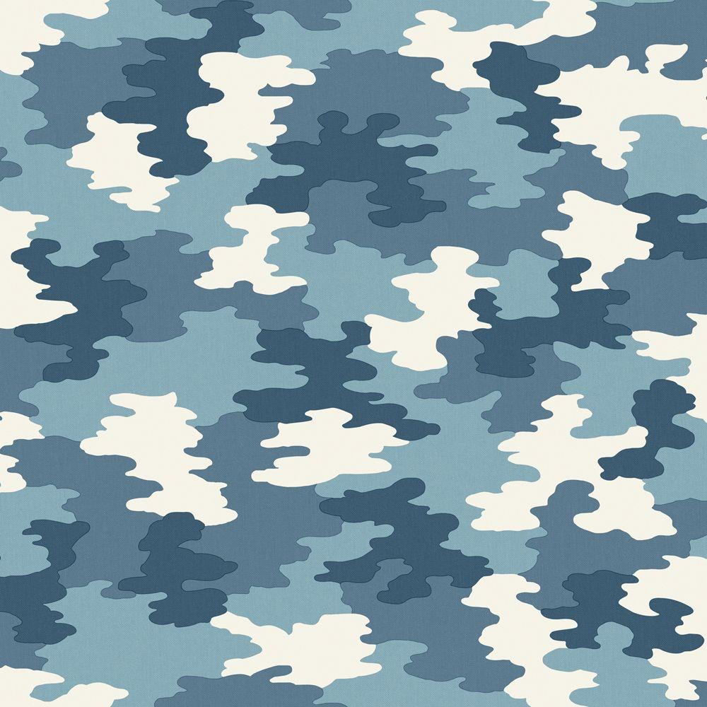 The Wallpaper Company 56 sq. ft. Blue Camouflage Wallpaper