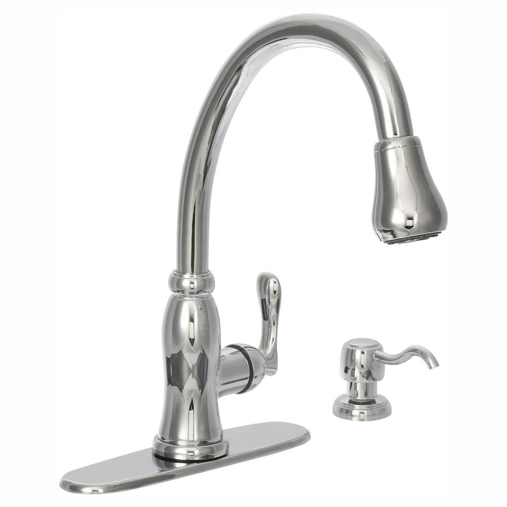 Glacier Bay Pavilion Single-Handle Pull-Down Kitchen Faucet with TurboSpray and FastMount and Soap Dispenser in Chrome