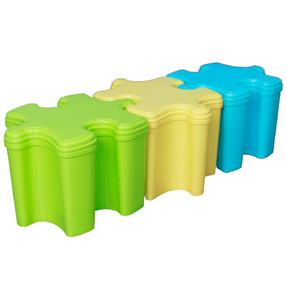 Basicwise 14 in. W x 11 in. D x 9.5 in. H Puzzle Piece Shaped Toy Storage Containers with Lid in Blue, Green and Yellow (Set of 3)