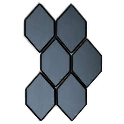 Echo Water jet Blue Gray Graphite Honeycomb 9 in. x 12 in. x 6.35 mm Mirror Glass Mosaic Tile