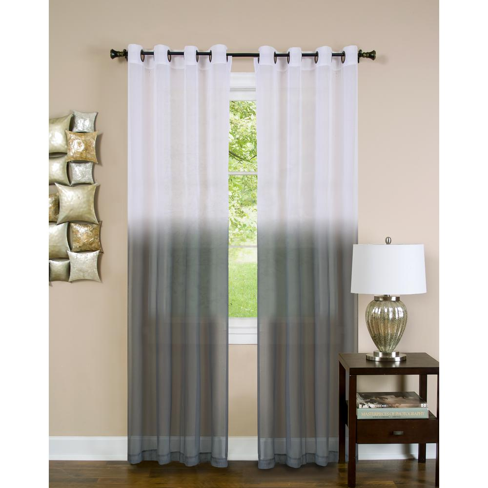Achim Sheer Essence Charcoal Window Curtain Panel 52 In W X 84 L