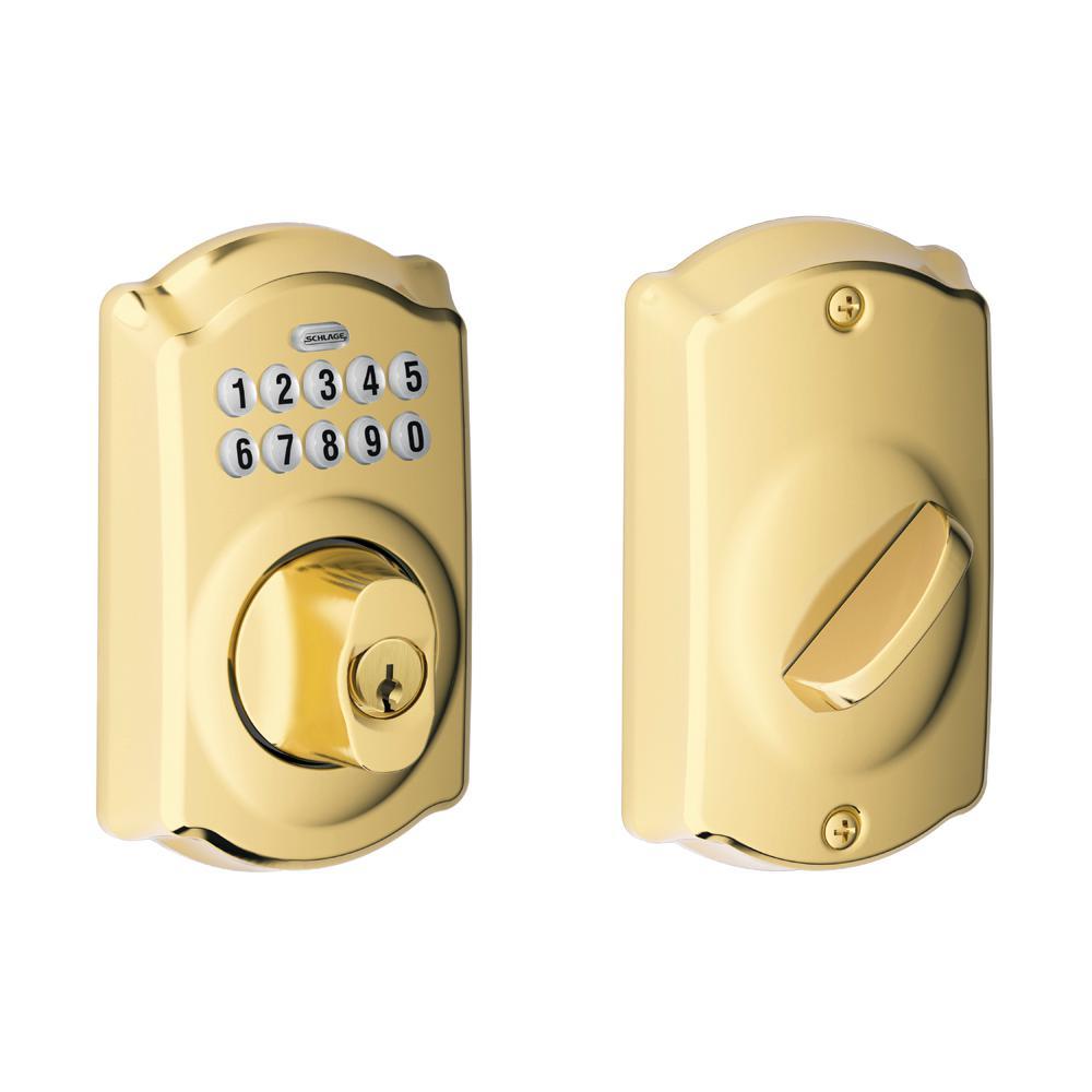 Camelot Bright Brass Keypad Electronic Door Lock Deadbolt