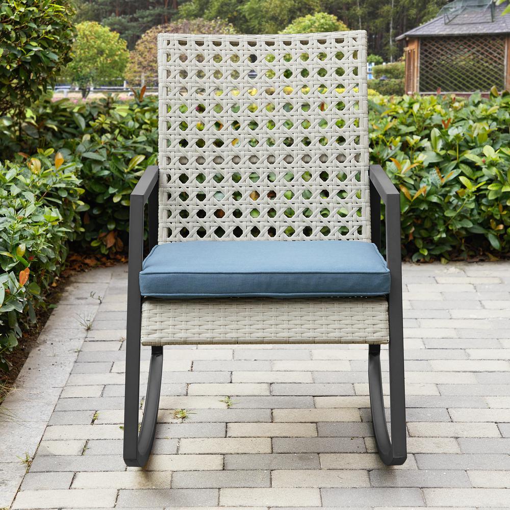 Walker Edison Furniture Company Light Grey Rattan Modern Patio Rocking Chair with Blue Cushion