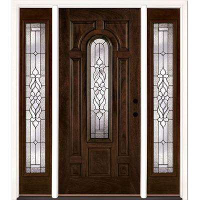 67.5 in. x 81.625 in. Lakewood Patina Stained Chestnut Mahogany Left-Hand Fiberglass Prehung Front Door with Sidelites